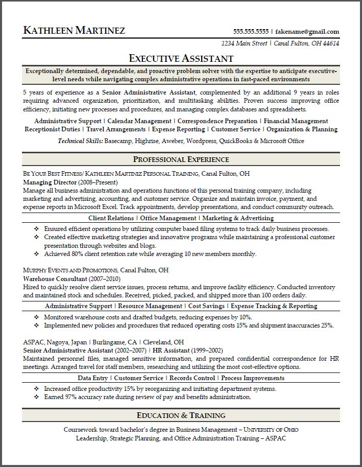 Sample resumes resume results for Sample resume for executive assistant to senior executive